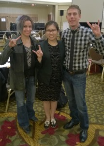 Sister Cowan and Brother Levin with fellow Longhorn, Emily Tao, Director of Communications at IATSE.